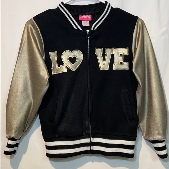 Girls Love Pink Other - Girls love Pink sweatshirt in black and gold 10/12